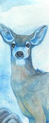 Watercolor Bookmark Deer Warmup by daanzi