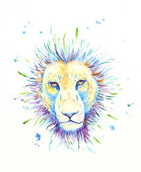 Watercolor Lion Face by daanzi