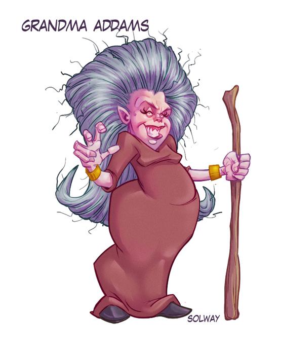 Grandma Addams color by Kravenous