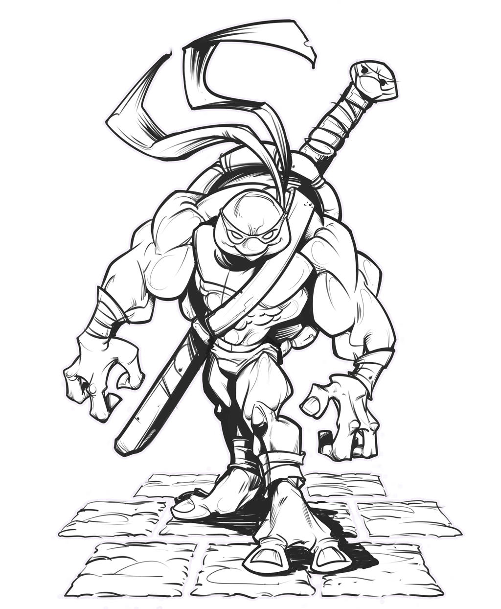 Line Art Ninja : Ninja turtle lines by kravenous on deviantart