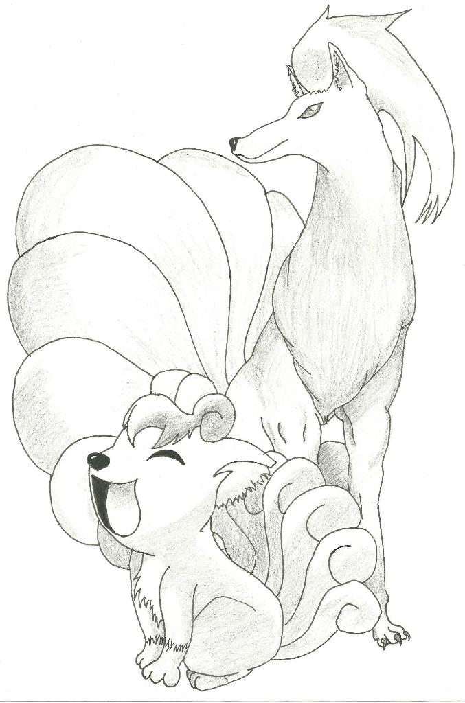 Ninetales and Vulpix by angelito96 on DeviantArt
