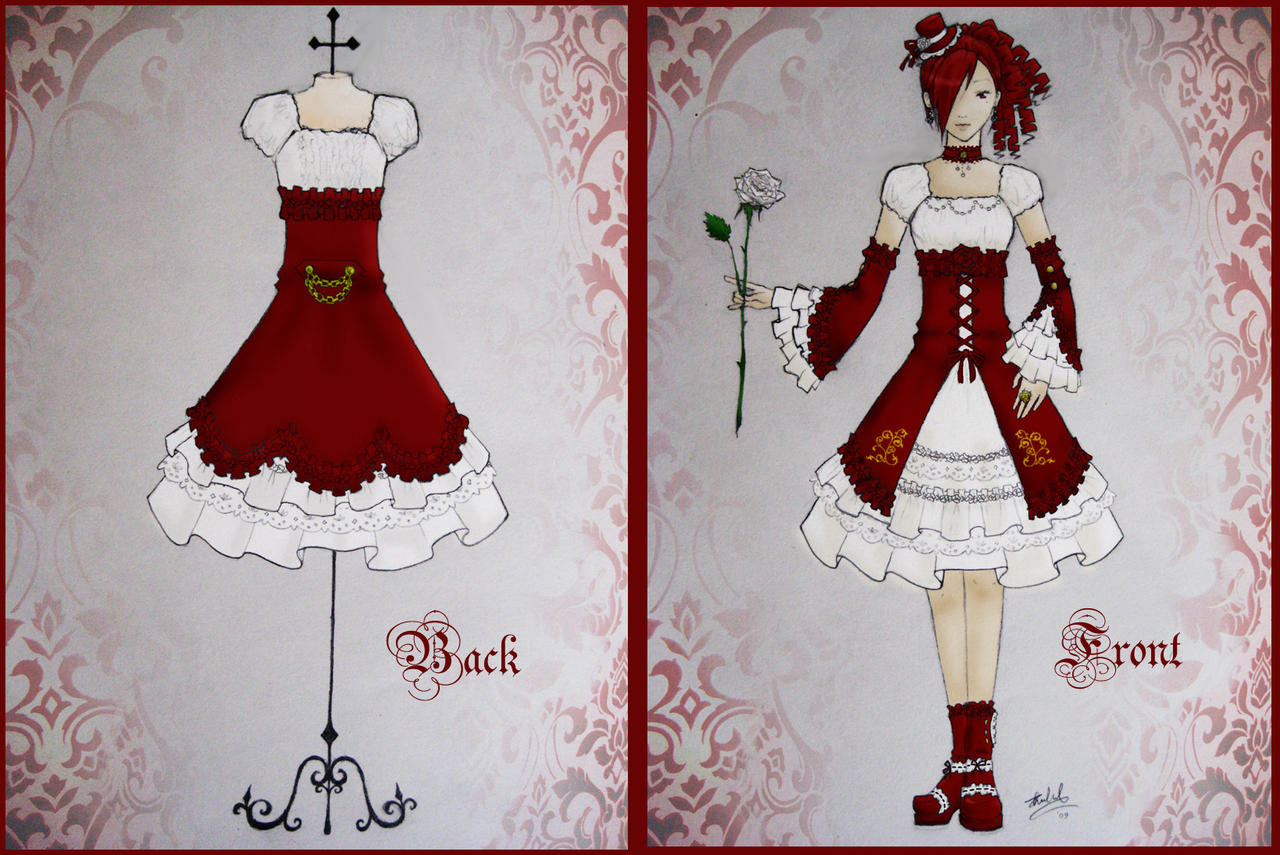 Lolita Dress Design - Red by xXnijuuniXx