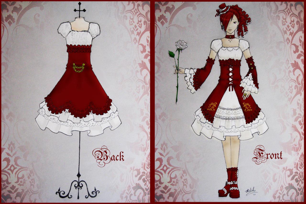 Lolita Dress Design - Red by xXnijuuniXx