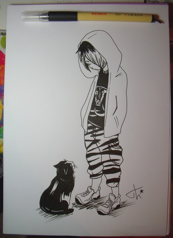Boy and cat by Theresem97