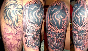 bio mechanical skull tattoo