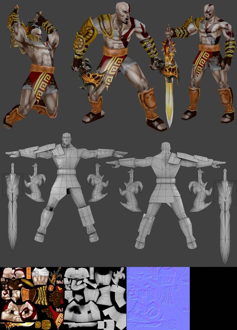 kratos lowpoly 3 by ahrimaneskarontex