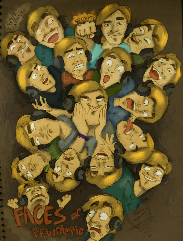 Faces of Pewdiepie - Colored version by ScribbleNetty