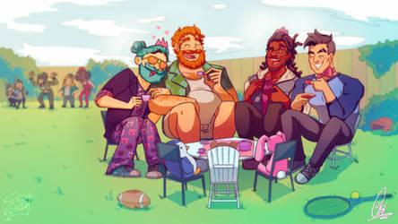 Tea Party (Dream Daddy: Dadrector's Cut Fanart)