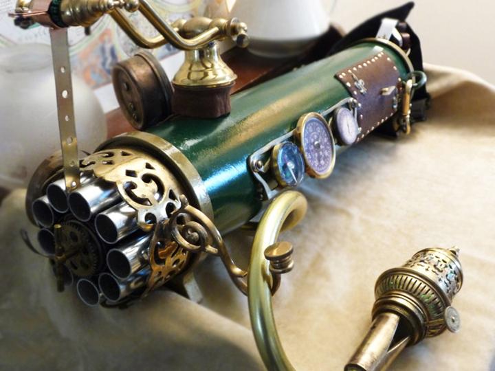 Steampunk Machine Gun by wildebore