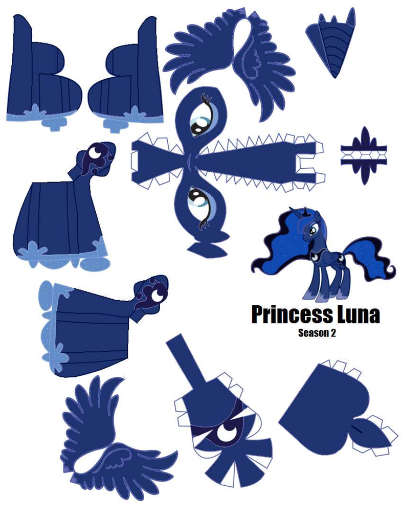 Princess Luna Papercraft Template (pg 1) by Flip-coB