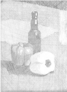 Bottle and Peppers Still Life