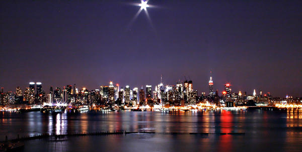 New York with the Moon by HairJay