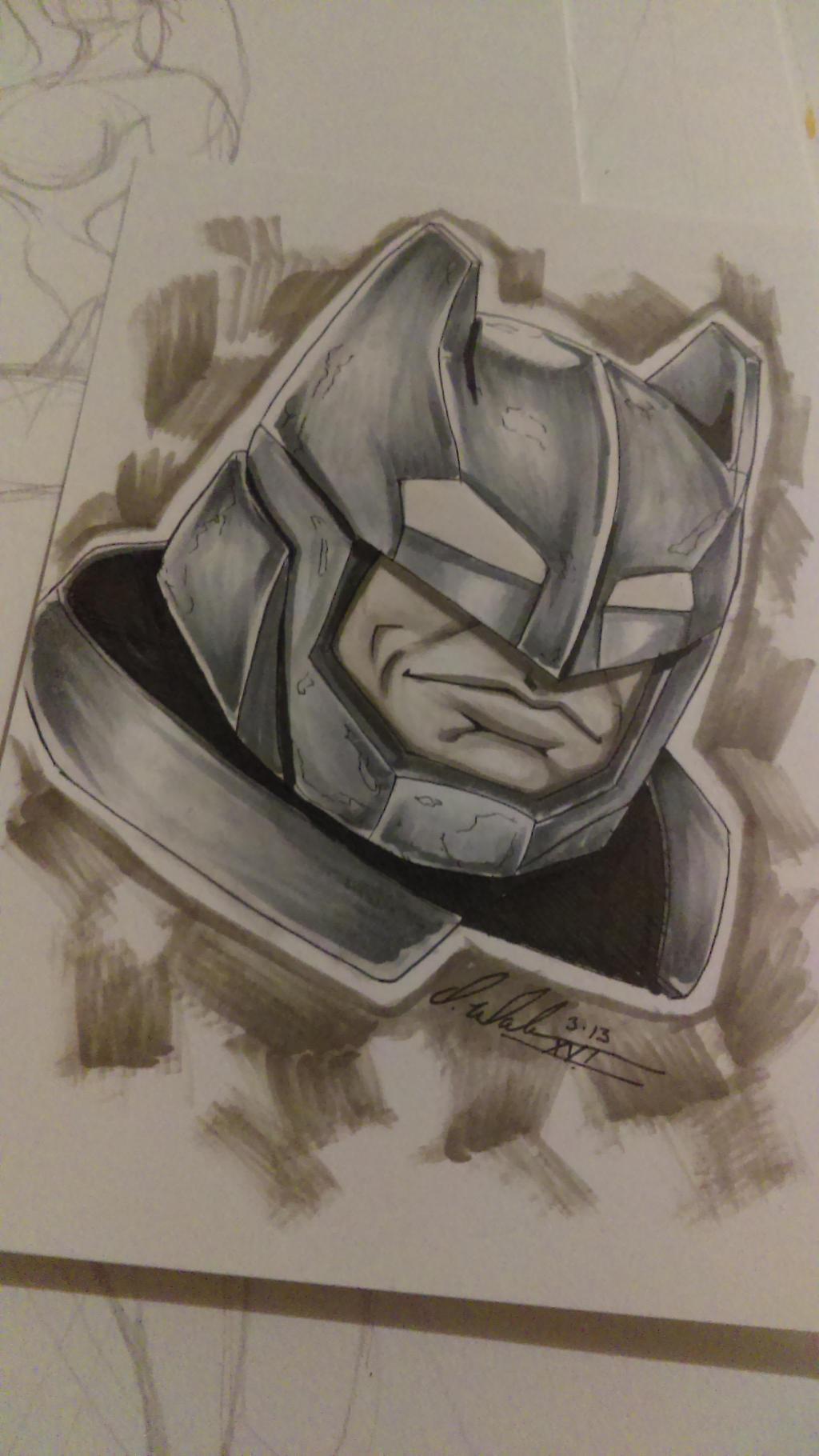 Armored Batman Head sketch by IanDWalker
