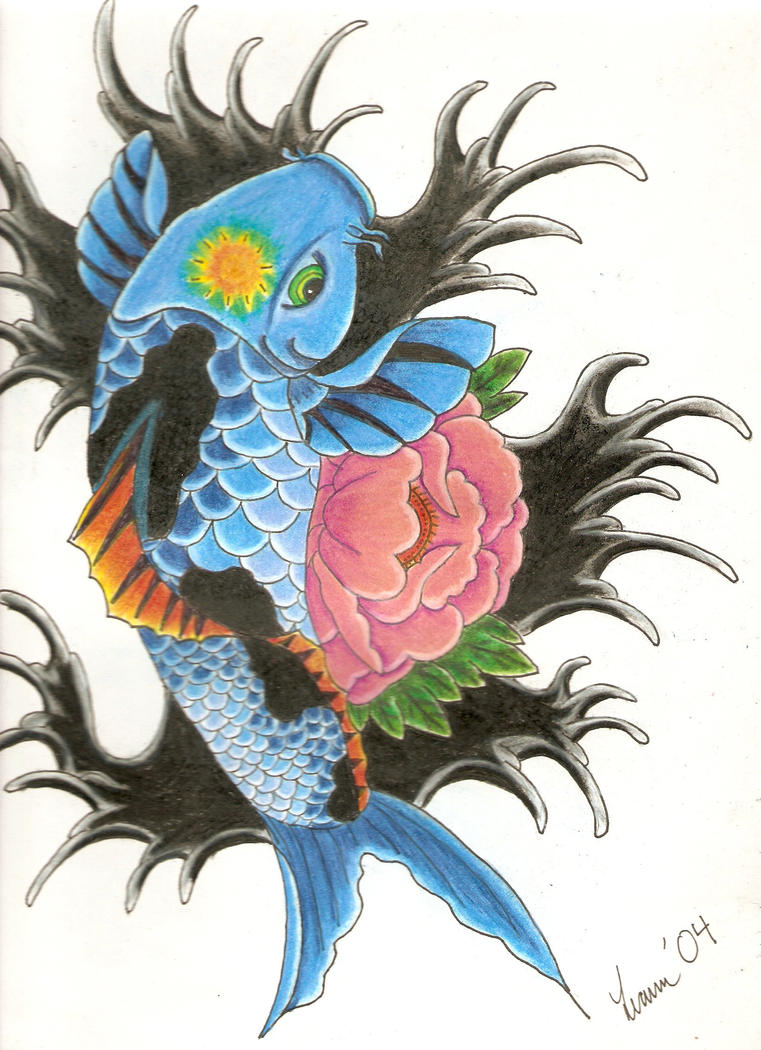 Blue koi fish by cheschirekat on deviantart for Blue coy fish