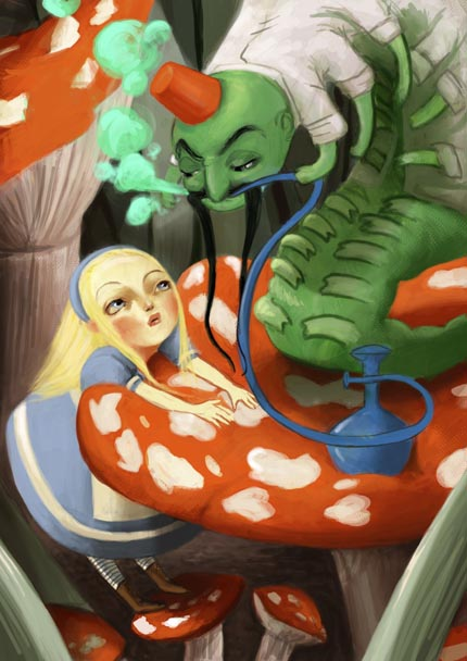 Alice and the Caterpillar by meluseena