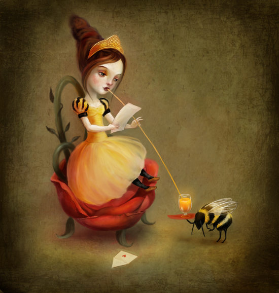 Queen Bee Reads a Love Letter by meluseena