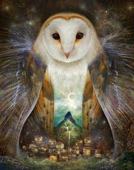 Owl, Mountain, Moon