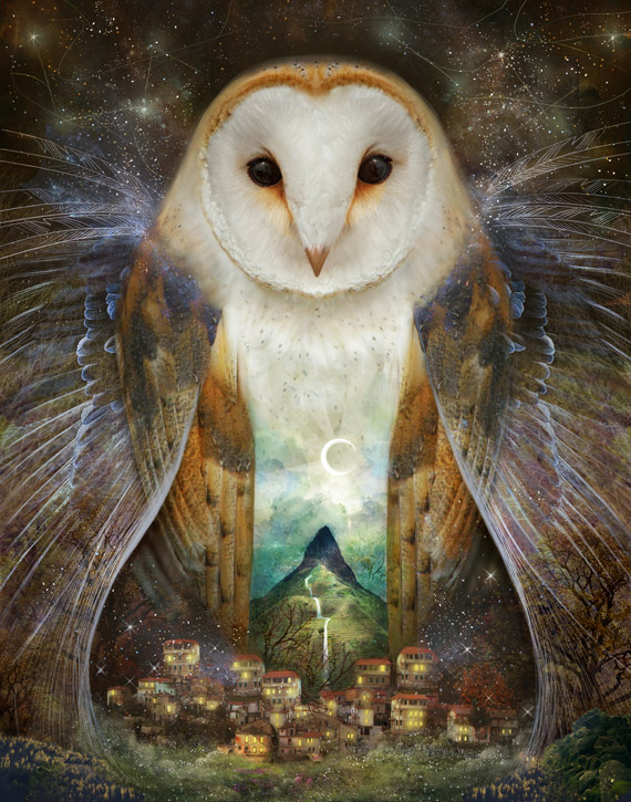 Owl, Mountain, Moon