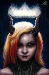 Girl with Horns by crowley0