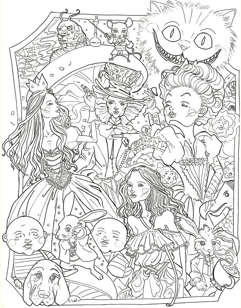 Kids-n-fun.com | 11 coloring pages of Alice in Wonderland (Tim Burton) | 1010x790