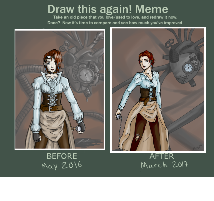 draw this again meme (may 2016 vs march 2017) by AndromedaDoodles