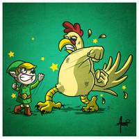 Link vs Cucco by AlbertoArni