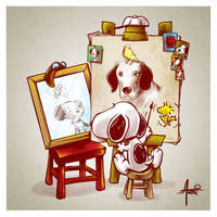 Triple Beagle Portrait