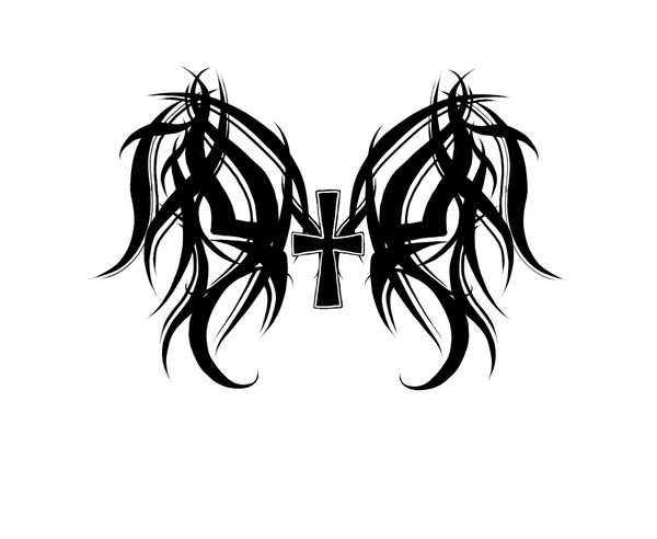 Tribal Wings and Cross by KonekoHanyou on DeviantArt