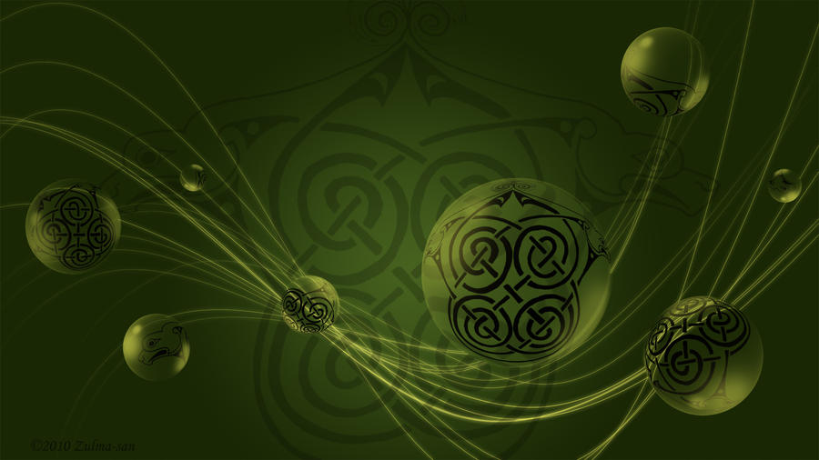 Green Dog Celtic Knot W-paper by Zulma-san
