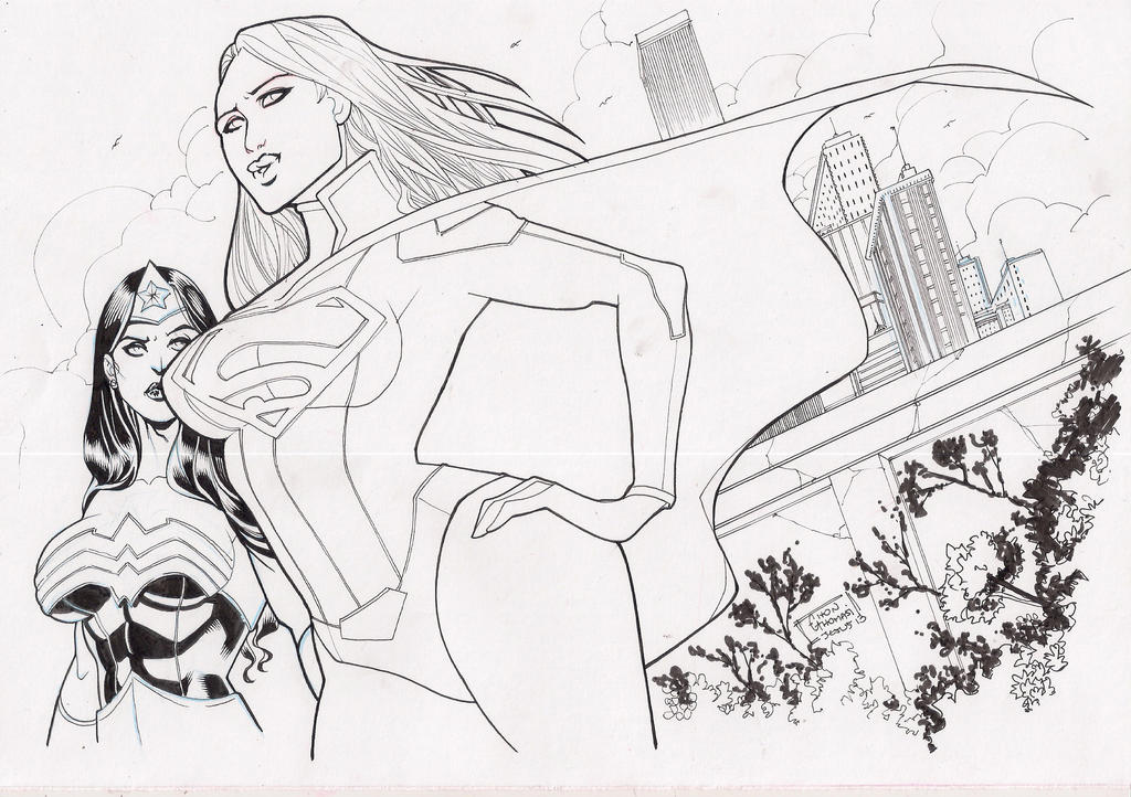 Supergirl vs Wonder Woman by eltondias