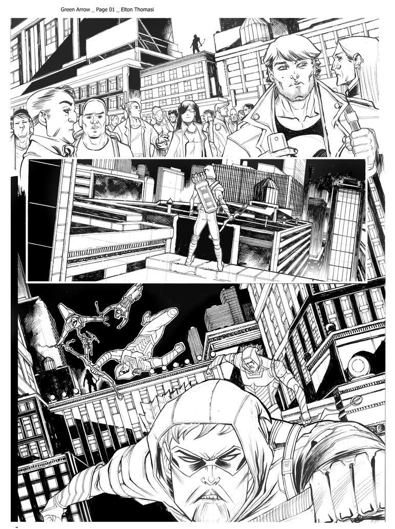Green Arrow Page 01 Pencil and Inker EltonThomasi by eltondias