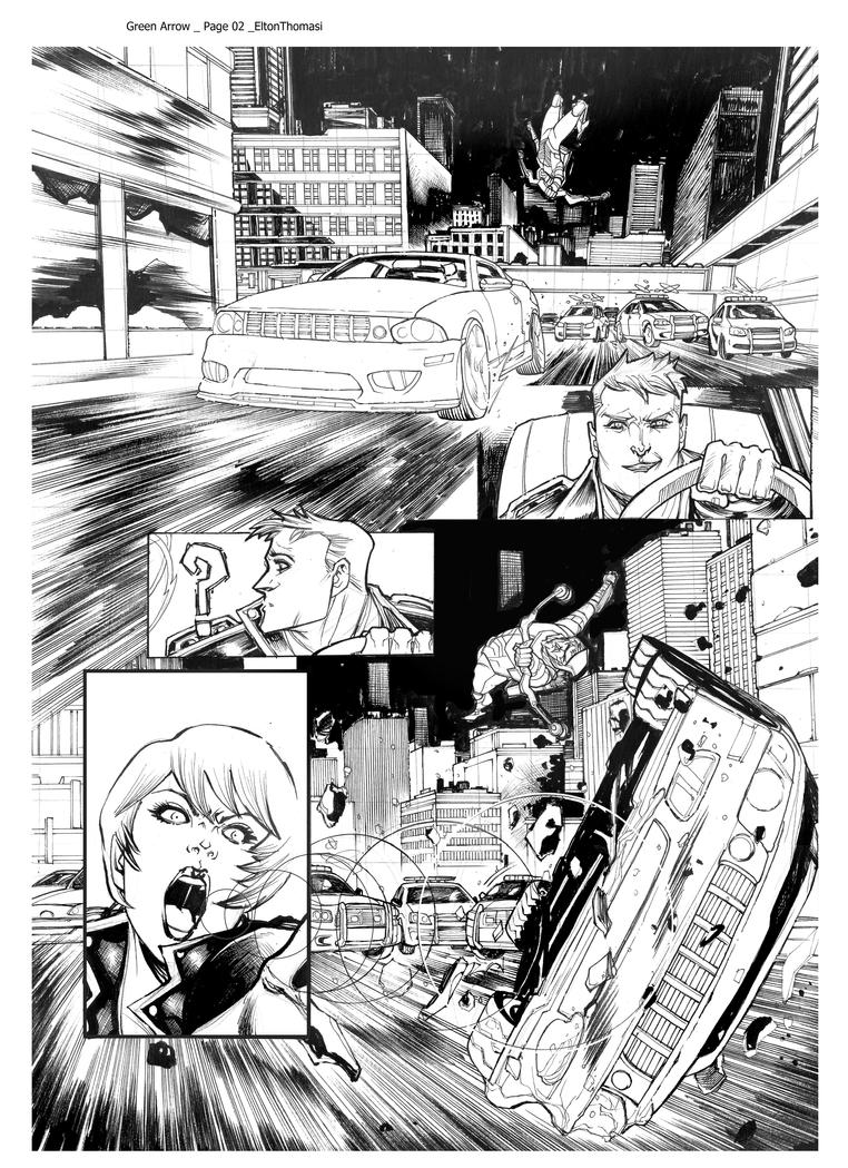 GreenArrow Page02    Pencil and Inker EltonThomasi by eltondias