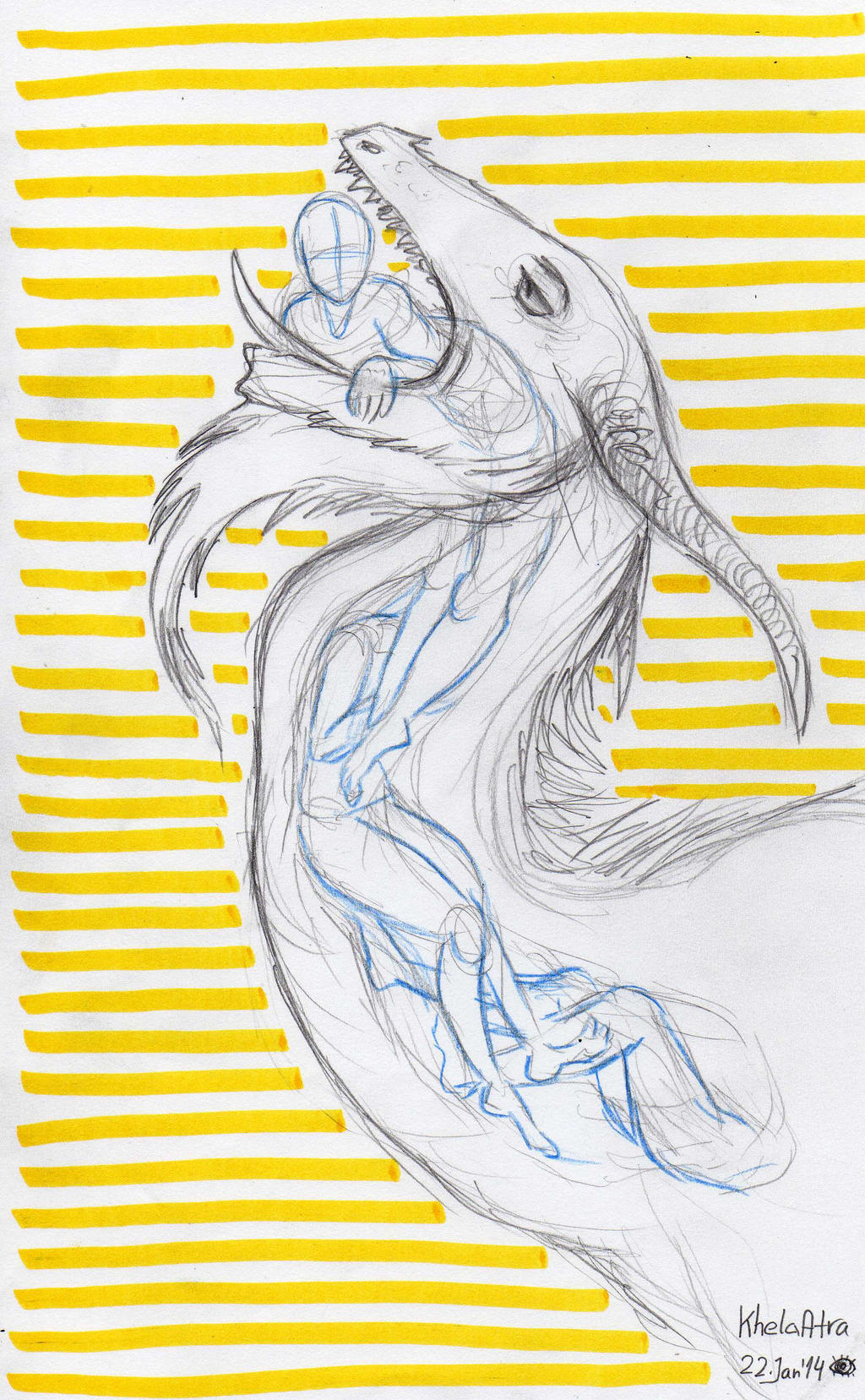 Dragon Vore Sketch Jan'14 by KhelaAtra