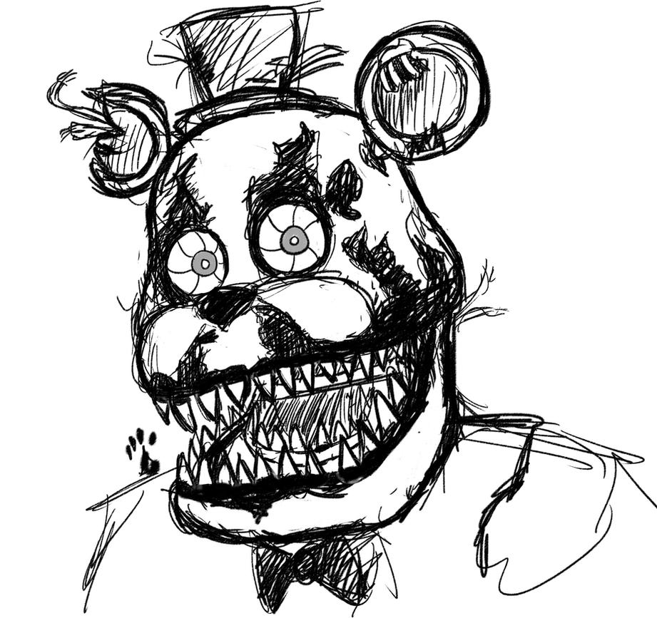 Nightmare freddy sketch by springaling on deviantart for Fnaf coloring pages nightmare