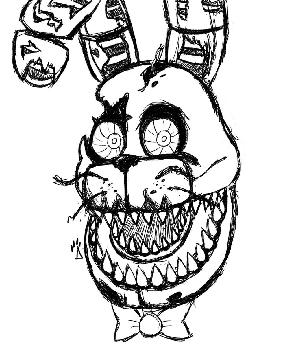 Nightmare bonnie rough drawing by springaling on deviantart for Fnaf coloring pages nightmare