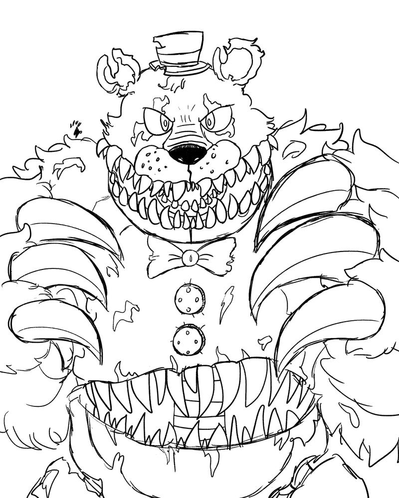 coloring pages fnaf world - nightmare fredbear by springaling on deviantart