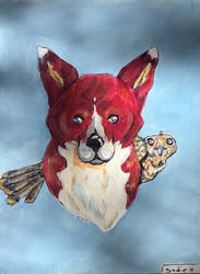 Fox and hawk painting part 3