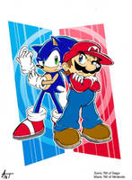 The Heroes- Sonic and Mario by AnTyep