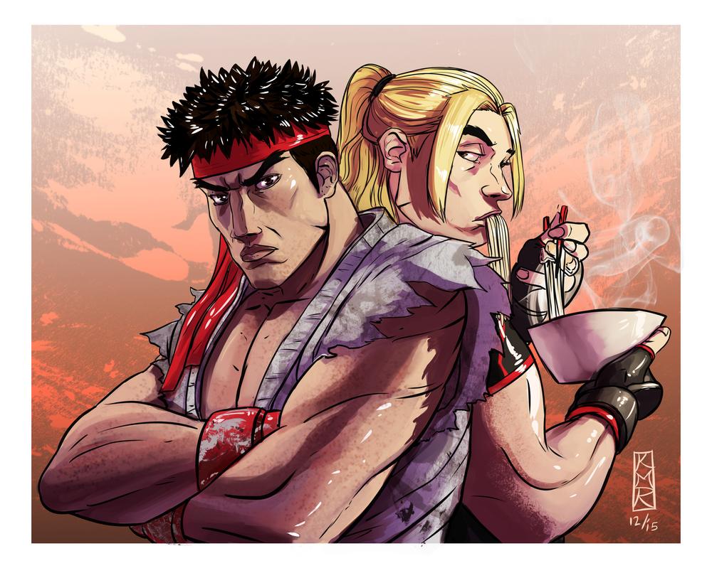 Shoryuken Ramen Ryu and Ken by Lalilulelo2003
