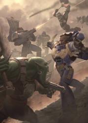 Warhammer 40000 Ork vs Ultramarine 1.0. by IgorIvArt