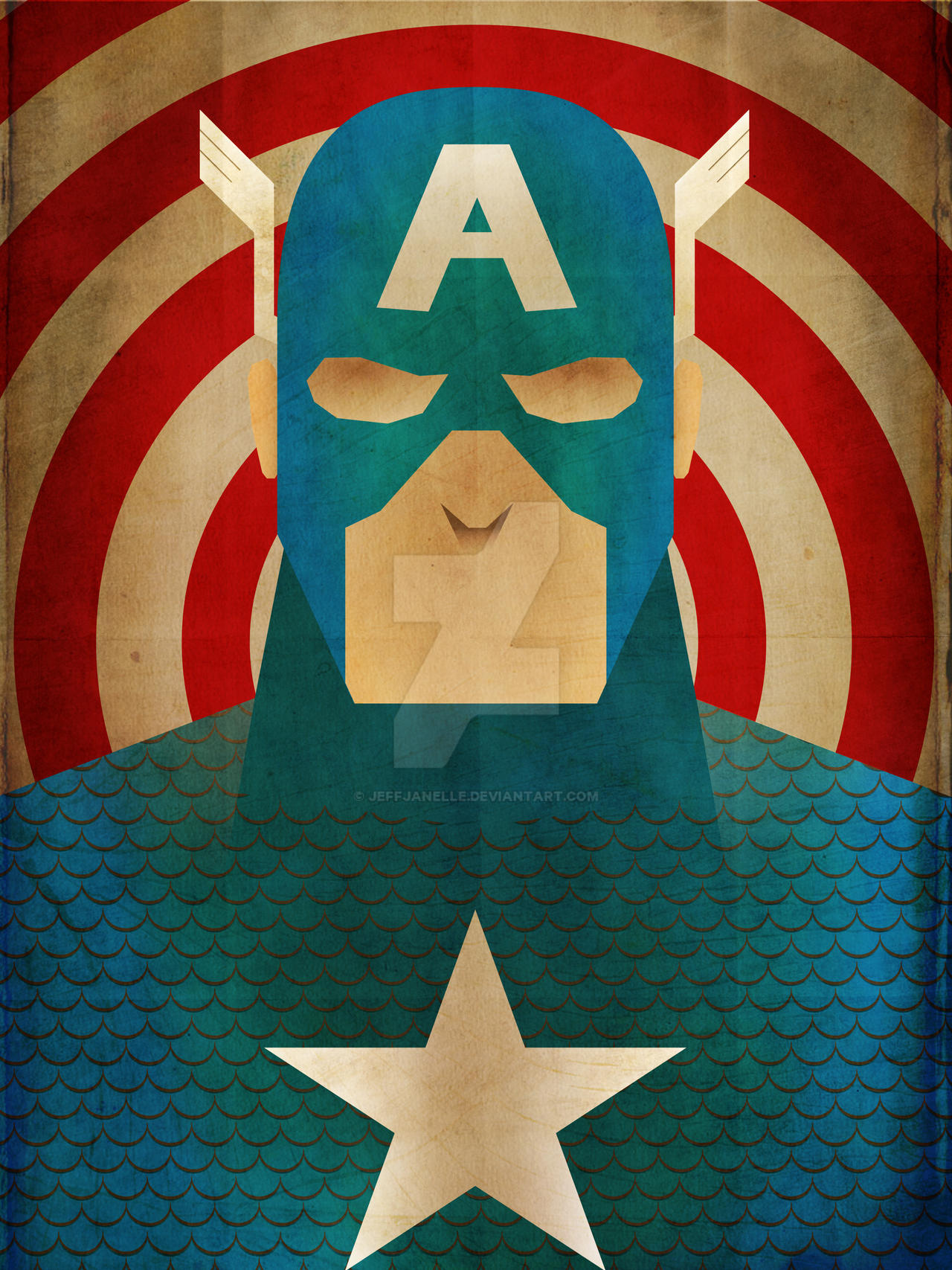 Minimalist hereos captain america by jeffjanelle on for Minimal art hero