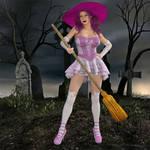 Witch Lilyanne Getting Ready To Take Flight