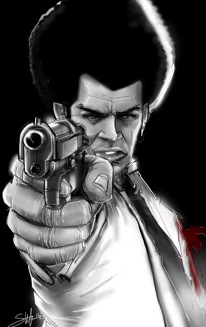 Black man-White Suit promo art by SACARA9