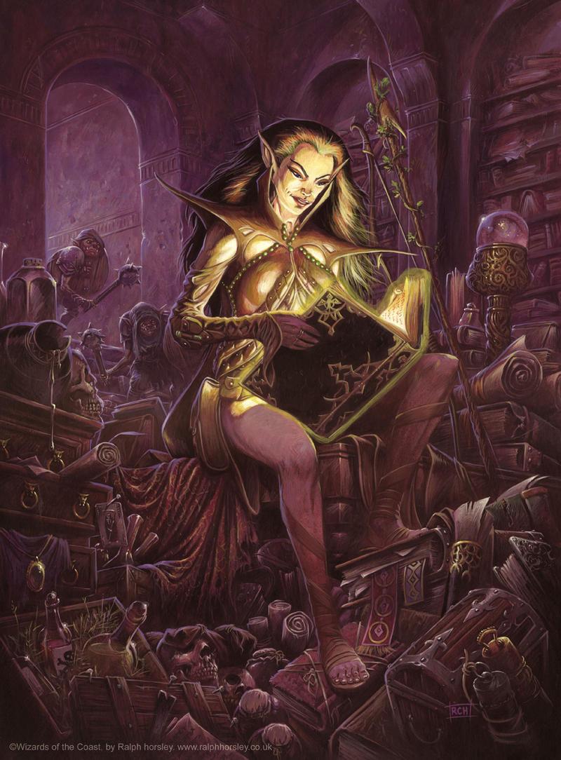 Mialee prepares her spells. by RalphHorsley