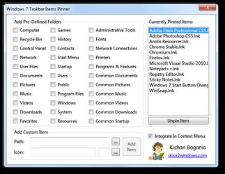 Windows 7 Taskbar Items Pinner