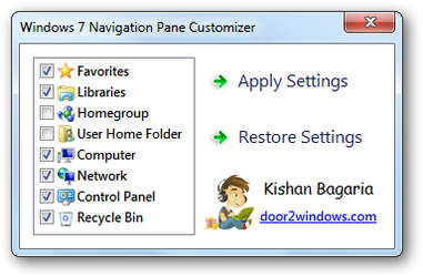 Windows 7 Nav Pane Customizer