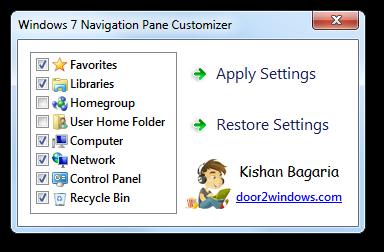 Windows 7 Nav Pane Customizer by Kishan-Bagaria