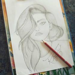 A Girl - My first pencilart deviation  by AzizStark