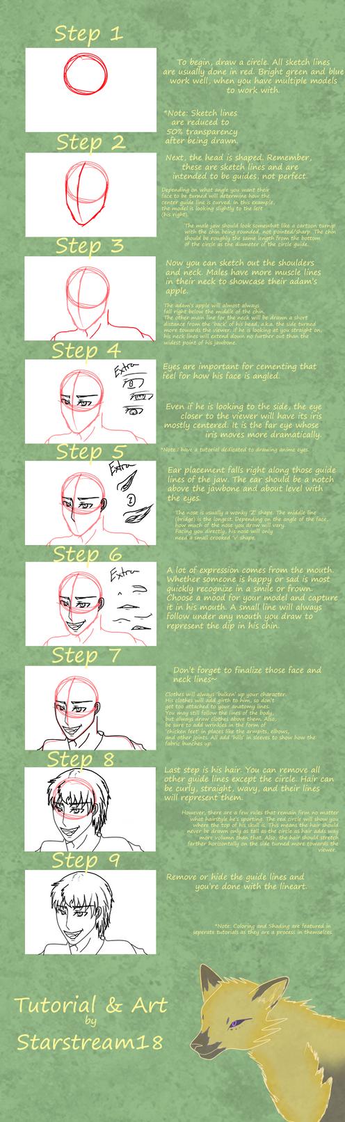 How to Draw - MALE ANIME HEADSHOTS (Tutorial) by Starstream18