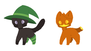 :: Freebie Halloween Cats - Closed :: by PastelButtAdopts